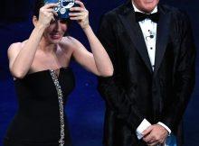 Italian actress Virginia Raffaele (L) and Italian actor Claudio Bisio (R) on stage at the Ariston theatre during the 69th Sanremo Italian Song Festival, Sanremo, Italy, 05 February 2019. The festival runs from 05 to 09 February.   ANSA/ETTORE FERRARI