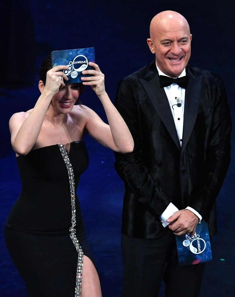 Italian actress Virginia Raffaele (L) and Italian actor Claudio Bisio (R) on stage at the Ariston theatre during the 69th Sanremo Italian Song Festival, Sanremo, Italy, 05 February 2019. The festival runs from 05 to 09 February.   ANSA/ETTORE FERRARI