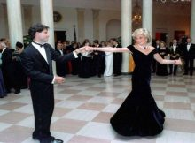 FILE PHOTO: In this photo provided by the Ronald Reagan Presidential Library, Princess Diana dances with John Travolta in the Cross Hall of the White House in Washington, D.C. at a Dinner for Prince Charles and Princess Diana of the United Kingdom on November 9, 1985.  Photo: CNP/AdMedia/SIPA/SilverHub +39 02 43998577 sales@silverhubmedia.it   ITALY SALES ONLY